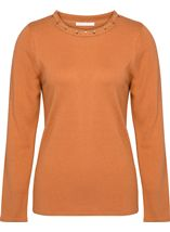 Anna Rose Jewelled Neck Knit Top Tan - Gallery Image 1