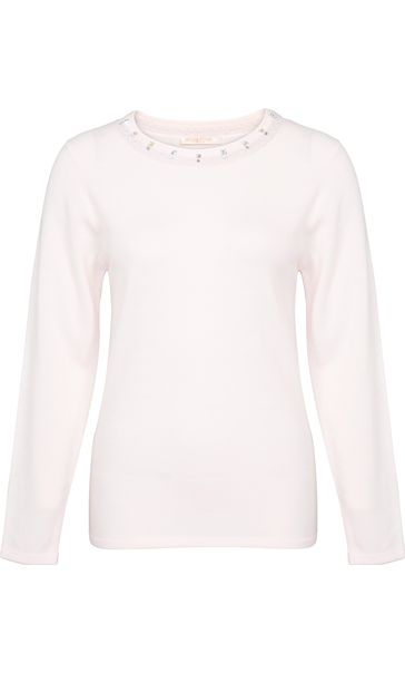 Anna Rose Jewelled Neck Knit Top Pale Pink