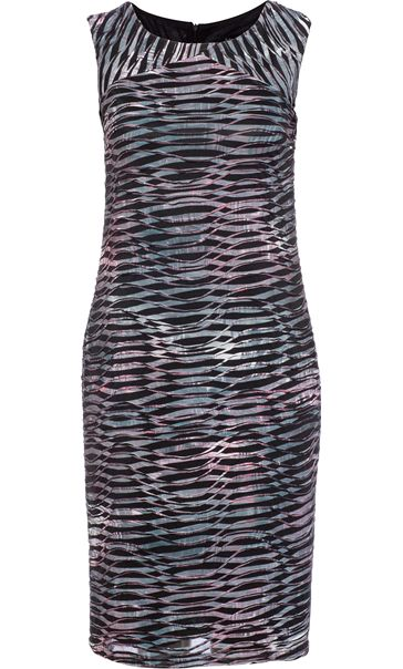 Textured Wave Fitted Sleeveless Midi Dress Grey/Fig