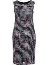 Textured Wave Fitted Sleeveless Midi Dress Grey/Fig - Gallery Image 1