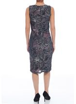 Textured Wave Fitted Sleeveless Midi Dress Grey/Fig - Gallery Image 3