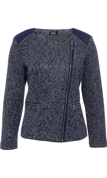 Suedette Trim Biker Jacket Navy/Grey