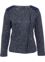 Suedette Trim Biker Jacket Navy/Grey - Gallery Image 1