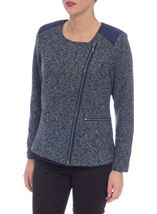 Suedette Trim Biker Jacket Navy/Grey - Gallery Image 2