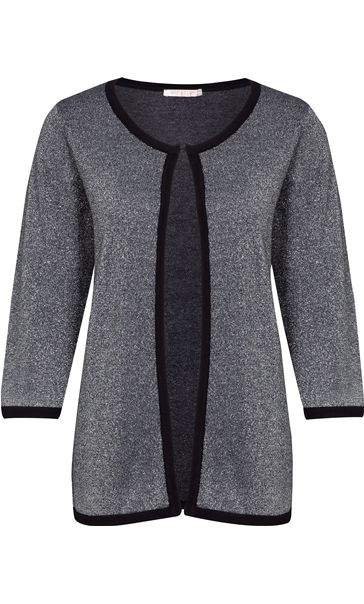 Anna Rose Three Quarter Sleeve Sparkle Knit Cover Up Silver/Black