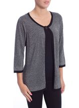 Anna Rose Three Quarter Sleeve Sparkle Knit Cover Up Silver/Black - Gallery Image 2