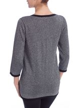 Anna Rose Three Quarter Sleeve Sparkle Knit Cover Up Silver/Black - Gallery Image 3