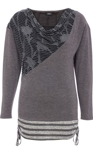 Long Sleeve Cowl Neck Knit Top Grey