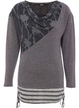 Long Sleeve Cowl Neck Knit Top Grey - Gallery Image 1
