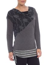 Long Sleeve Cowl Neck Knit Top Grey - Gallery Image 2