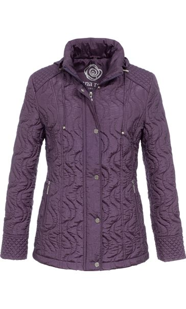 Anna Rose Swirl Stitch Padded Coat Amethyst