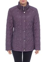 Anna Rose Swirl Stitch Padded Coat Amethyst - Gallery Image 2