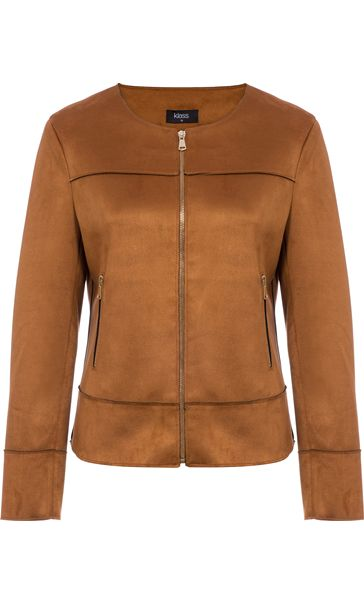 Unlined Suedette Zip Jacket Tan
