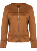 Unlined Suedette Zip Jacket Tan - Gallery Image 1