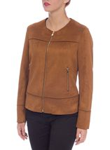Unlined Suedette Zip Jacket Tan - Gallery Image 2