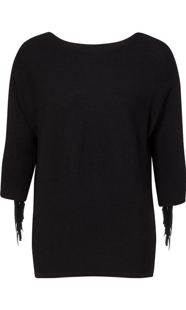 Suedette Tassel Batwing Knit Top Black