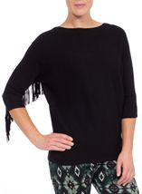 Suedette Tassel Batwing Knit Top Black - Gallery Image 2