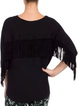 Suedette Tassel Batwing Knit Top Black - Gallery Image 3