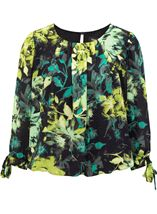 Floral Georgette Three Quarter Tie Sleeve Top Black/Pistachio - Gallery Image 1
