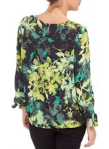 Floral Georgette Three Quarter Tie Sleeve Top Black/Pistachio - Gallery Image 3