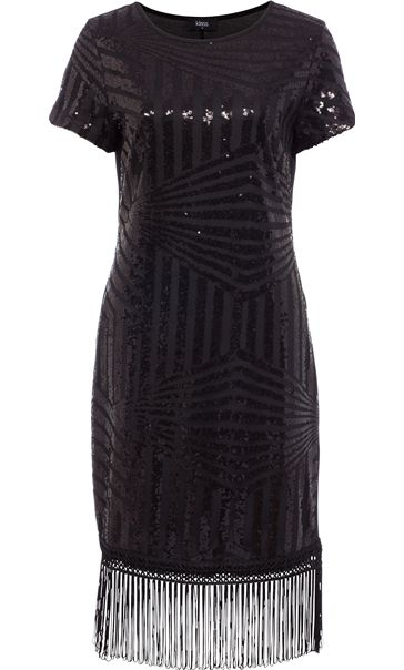 Embellished Short Sleeve Tassel Trim Midi Dress Black