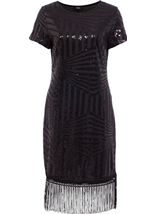 Embellished Short Sleeve Tassel Trim Midi Dress Black - Gallery Image 1