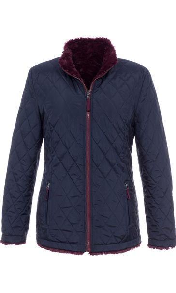 Reversible Faux Fur And Quilted Coat Navy/Claret