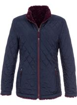 Reversible Faux Fur And Quilted Coat Navy/Claret - Gallery Image 1