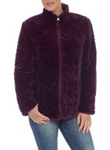 Reversible Faux Fur And Quilted Coat Navy/Claret - Gallery Image 3