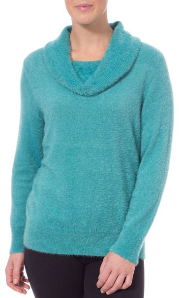 Anna Rose Cowl Neck Feather Knit Top Teal