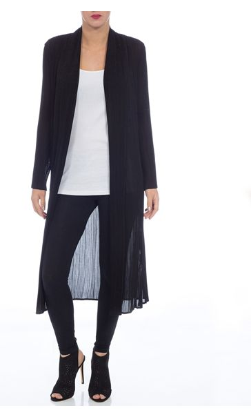 Black Longline Pleated Open Chiffon Cover Up