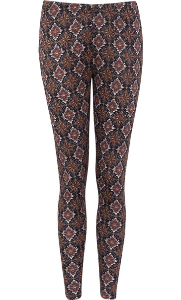 Printed Full Length Leggings Brown/Paprika