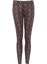 Printed Full Length Leggings Brown/Paprika - Gallery Image 1