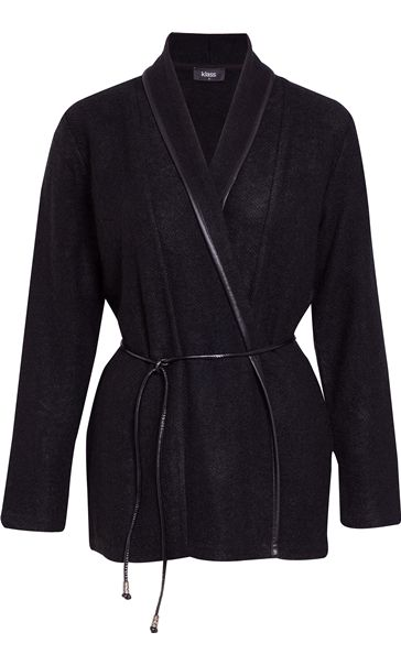Long Sleeve Faux Leather Trim Cardigan Black