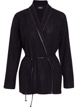 Long Sleeve Faux Leather Trim Cardigan Black - Gallery Image 1