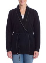 Long Sleeve Faux Leather Trim Cardigan Black - Gallery Image 2