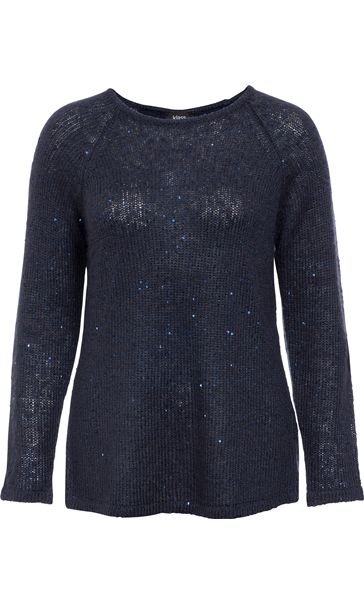 Long Sleeve Sequin Knit Top Navy