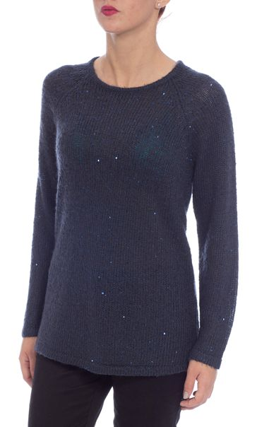 Long Sleeve Sequin Knit Top Navy - Gallery Image 2