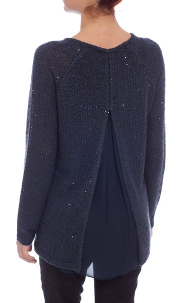 Long Sleeve Sequin Knit Top Navy - Gallery Image 3