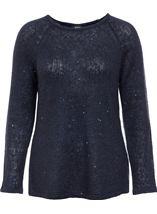 Long Sleeve Sequin Knit Top Navy - Gallery Image 1