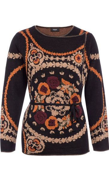 Patterned Wrap Over Knit Cardigan Black Multi