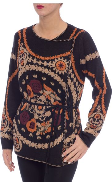Patterned Wrap Over Knit Cardigan Black Multi - Gallery Image 2