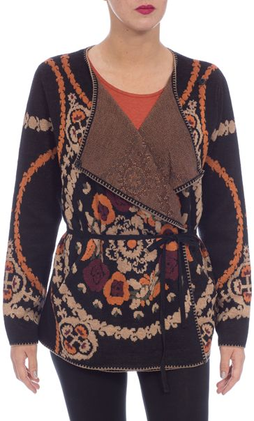 Patterned Wrap Over Knit Cardigan Black Multi - Gallery Image 3