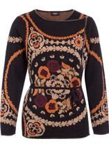 Patterned Wrap Over Knit Cardigan Black Multi - Gallery Image 1