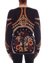 Patterned Wrap Over Knit Cardigan Black Multi - Gallery Image 4