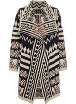 Patterned Open Knit Cardigan Multi - Gallery Image 1