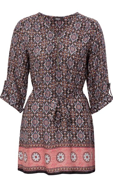 Printed Three Quarter Sleeve Zip Tunic Brown/Paprika