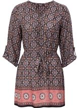 Printed Three Quarter Sleeve Zip Tunic Brown/Paprika - Gallery Image 1