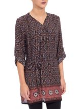 Printed Three Quarter Sleeve Zip Tunic Brown/Paprika - Gallery Image 2