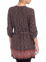 Printed Three Quarter Sleeve Zip Tunic Brown/Paprika - Gallery Image 3